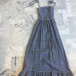 Navy gingham maxi dress-small